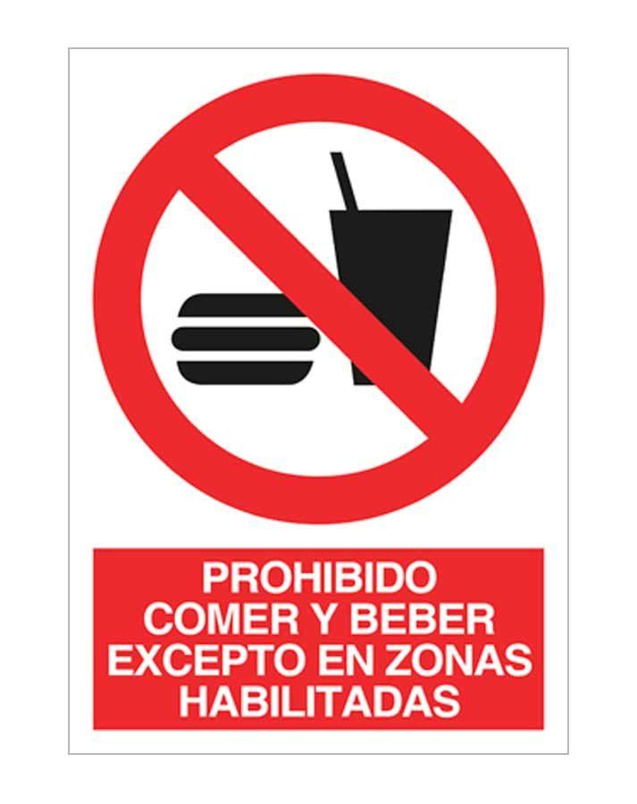 Prohibido comer y beber excepto en zonas habilitadas