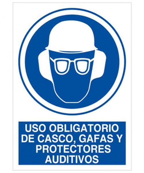 Uso obligatorio de cascos gafas y protectores auditivos