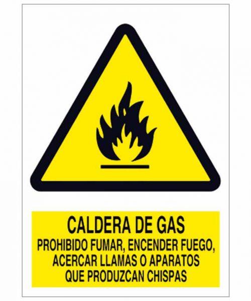 Caldera de gas. Prohibido fumar, encender fuego, acercar llamas o aparatos que produzcan chispas
