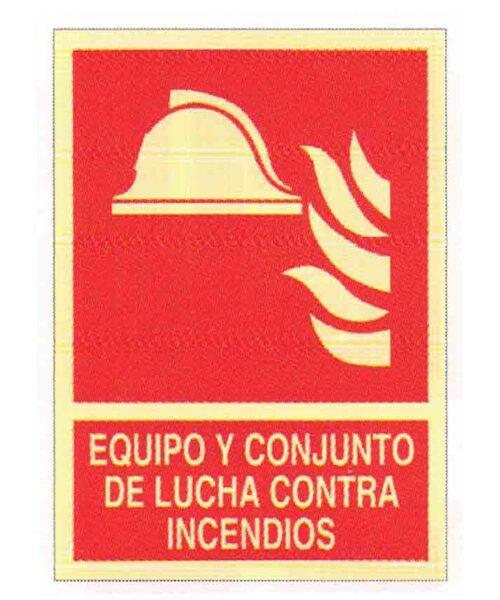 Equipo y conjunto de lucha contra incendios señal ISO