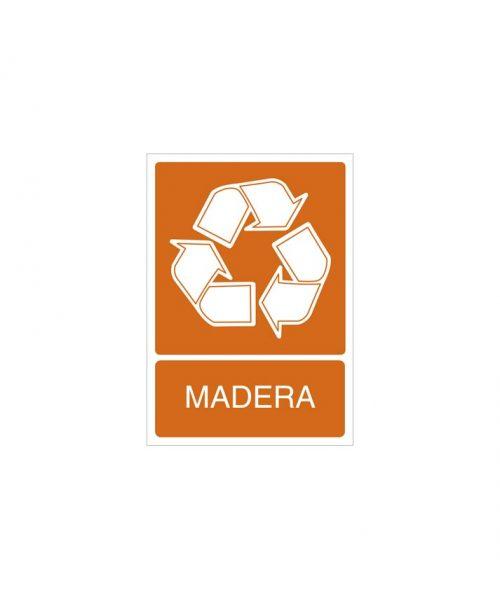 Señal de reciclaje de madera