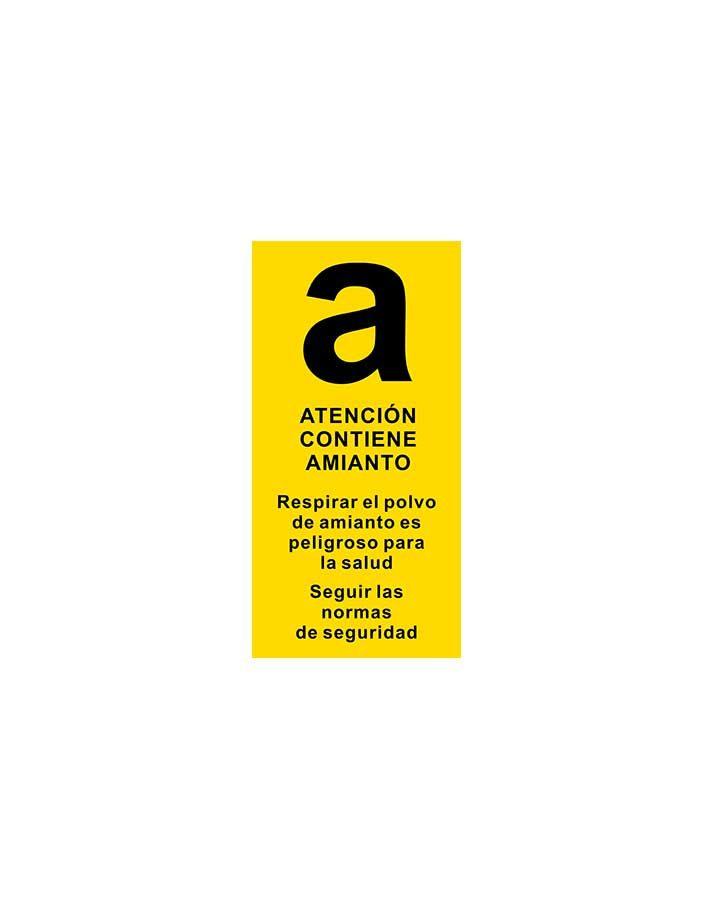 Atención contiene amianto (fondo amarillo)