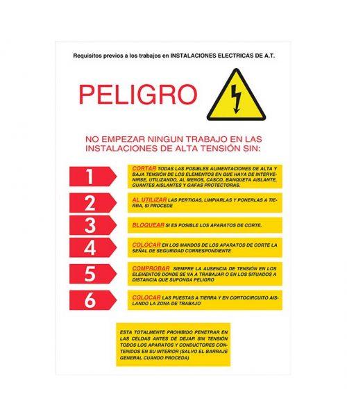 Peligro no empezar ningún trabajo en las instalaciones de alta tensión