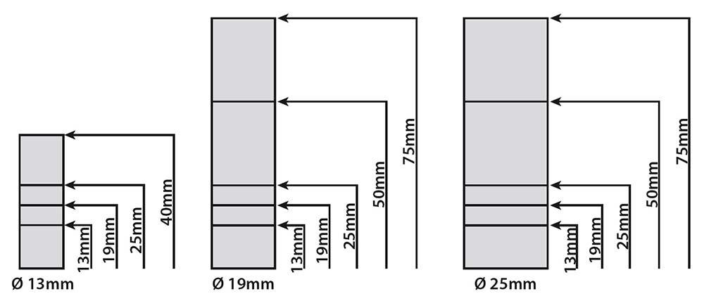 Separadores de cristal cromados esquema