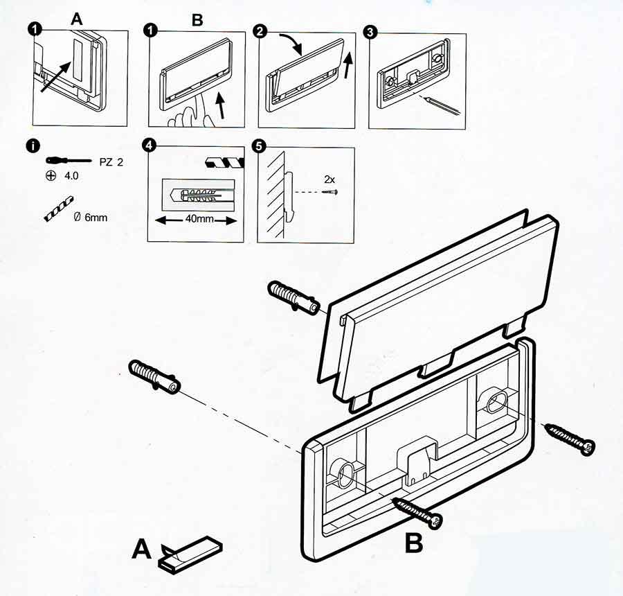 Soporte de plástico para letreros montaje